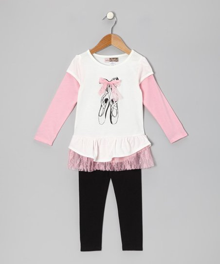 Off-White Ballet Layered Tunic & Leggings - Toddler