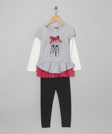 Gray Ballet Layered Tunic & Leggings - Toddler