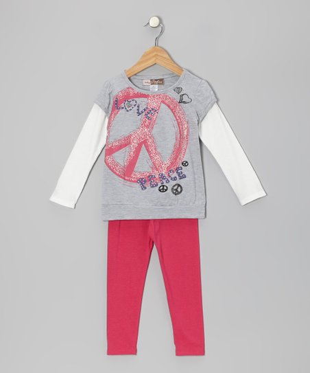 Gray Peace Sign Layered Tunic & Fuchsia Leggings - Toddler