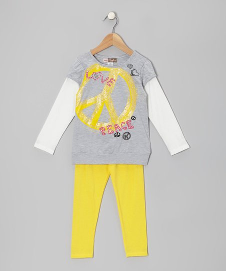 Gray Peace Sign Layered Tunic & Yellow Leggings - Toddler