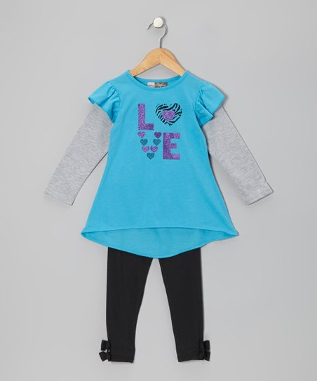 Blue 'Love' Layered Tunic & Black Leggings - Toddler