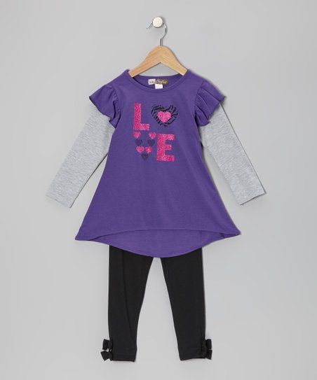 Purple 'Love' Layered Tunic & Black Leggings - Toddler