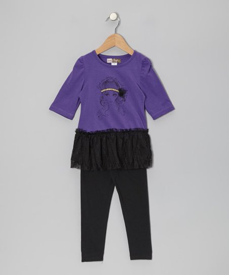 Purple Layered Tunic & Black Leggings - Toddler
