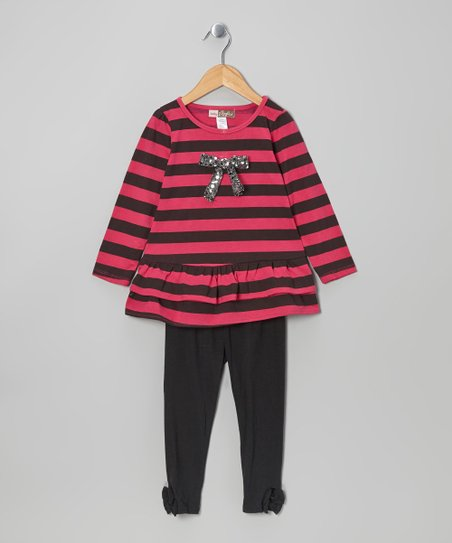 Fuchsia Stripe Tunic & Black Leggings - Toddler