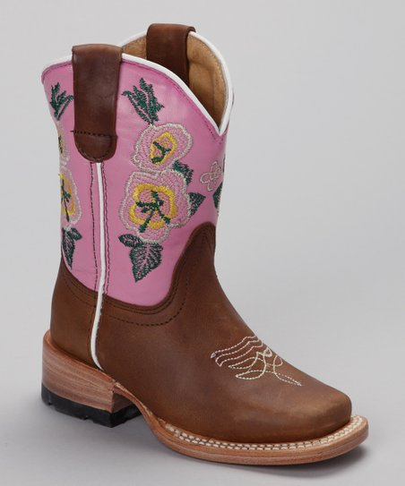 Pink & Brown Canela Boot - Kids
