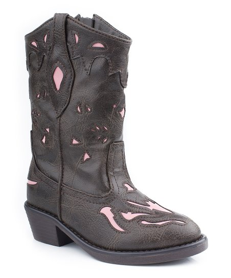 Brown & Pink Cowboy Boot - Kids