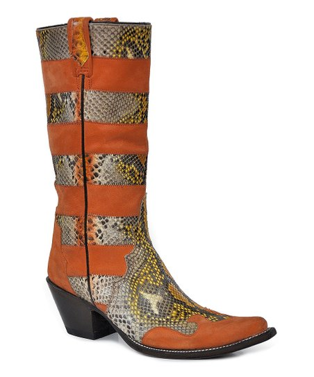 Orange Suede & Python Stovepipe Cowboy Boot - Women