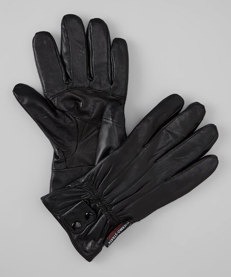 Black Button Trim Leather Gloves
