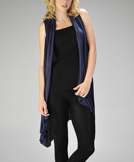 Navy Shawl Collar Long Vest