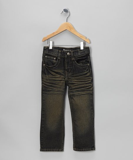 Vintage-Wash Distressed Straight-Leg Jeans - Boys
