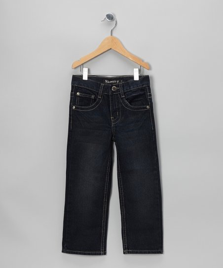 Dark-Wash Flap-Pocket Straight-Leg Jeans - Boys