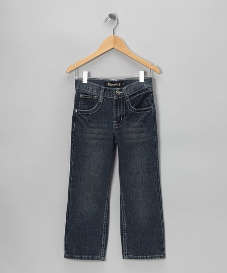 Medium Wash Flap-Pocket Straight-Leg Jeans - Boys