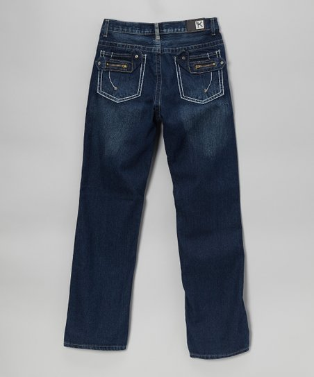 Medium Wash Tab-Pocket Straight-Leg Jeans - Boys
