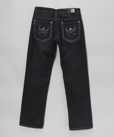 Dark-Wash Double-Pocket Straight-Leg Jeans - Boys