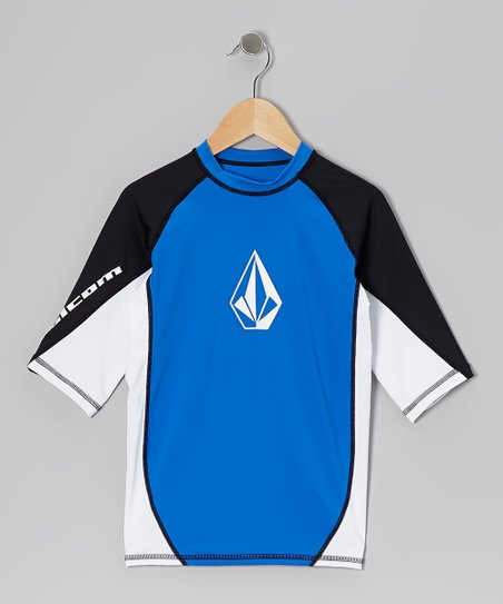 Blue & Black Color Block Sports Tee - Boys