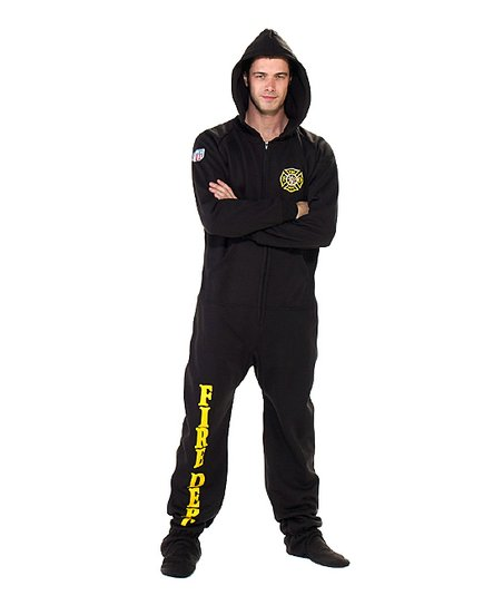 Black 'Fire Dept' Hooded Footie Pajamas - Adult