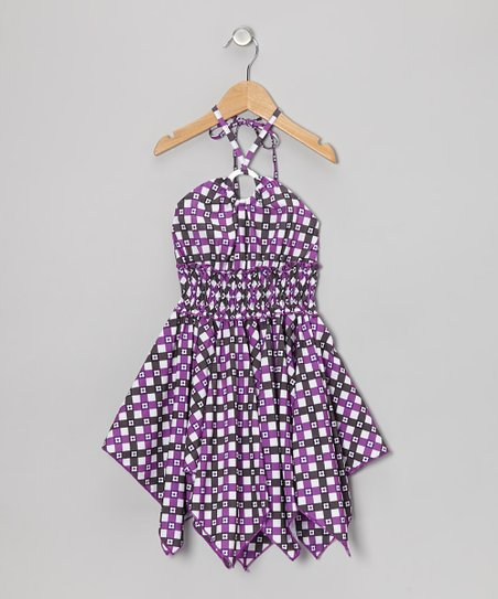 Lilac Flower Plaid Handkerchief Dress - Toddler & Girls
