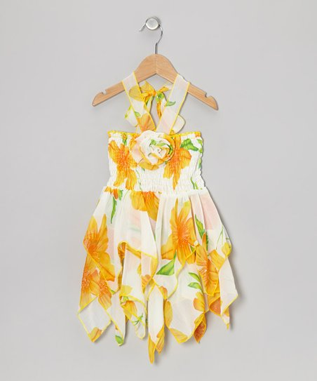 Yellow Floral Chiffon Handkerchief Dress - Toddler & Girls
