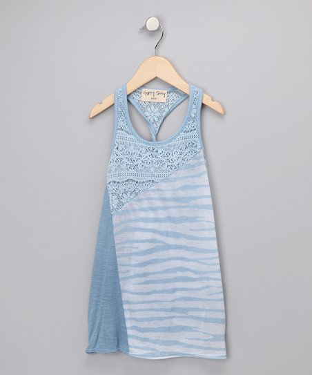 Blue Twist Back Lace Tank