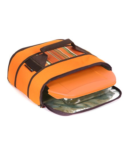 Orange Stripe Insulated Universal Stowaway Potlucker Carrier