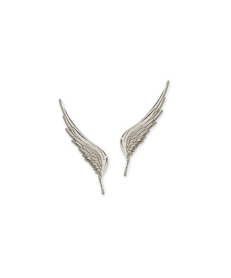 Silver Angel Wing Ear Pin Earrings