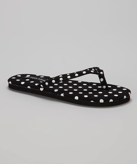Black & White Polka Dot Flip-Flop