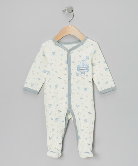 Ivory & Blue Spaceship Footie - Infant