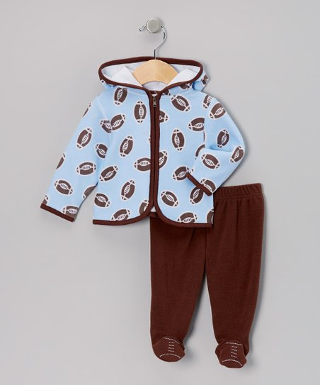 Blue Football Zip-Up Hoodie & Footie Pants - Infant
