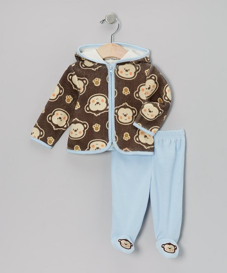 Brown Monkeys Zip-Up Hoodie & Footie Pants - Infant
