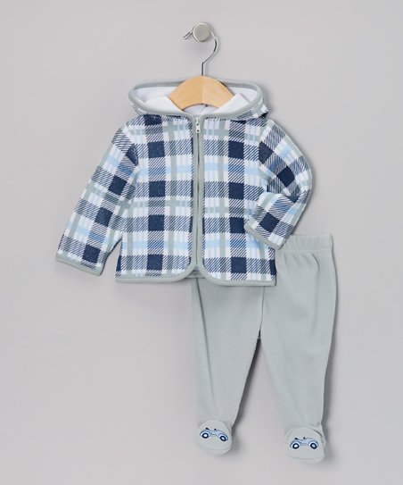Gray Plaid Zip-Up Hoodie & Footie Pants - Infant