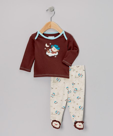 Brown Cowboy Monkey Footie Pajama Set - Infant