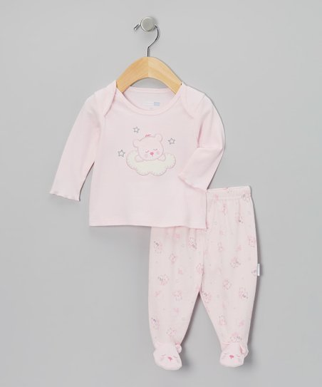 Pink Sleepy Bear Pajama Top & Footie Pants - Infant
