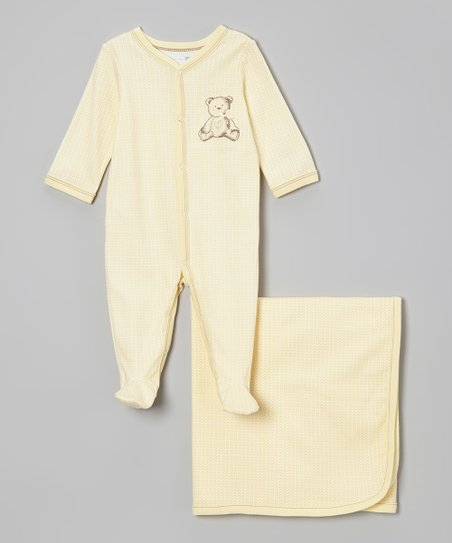 Yellow Bear Footie & Blanket - Infant