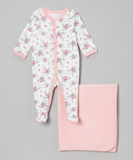 Pink Floral Footie & Blanket - Infant