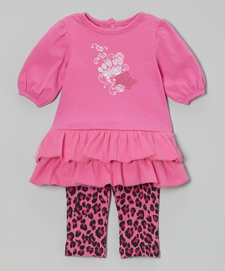 Pink Ruffle Dress & Leopard Leggings - Infant