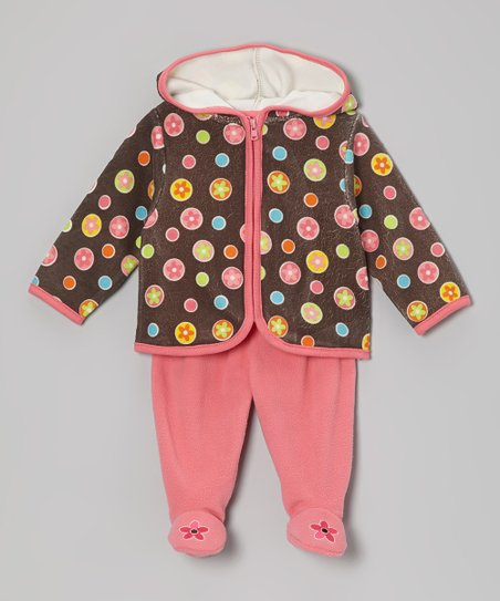 Brown Floral Hoodie & Pink Footie Pants - Infant