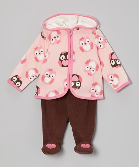 Pink Owl Zip-Up Hoodie & Brown Footie Pants - Infant