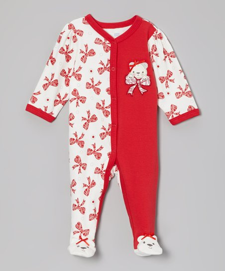 Red Bear Bows Footie - Infant