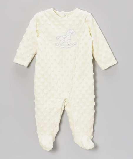 Ivory Rocking Horse Minky Footie - Infant
