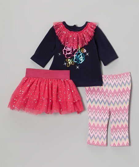 Pink & Navy Sparkle Flower Skirt Set - Infant