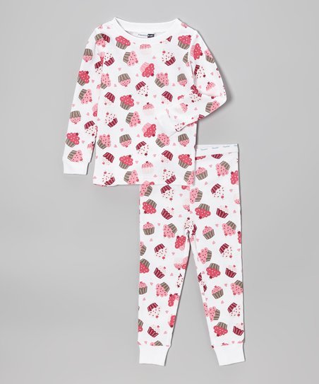 White & Pink Cupcake Pajama Set - Toddler