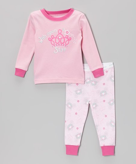 Pink 'Wish Upon A Star' Princess Pajama Set - Infant