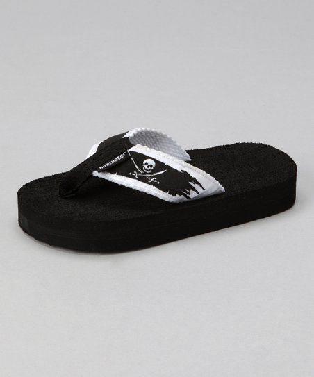 Black & White Pirate Flat Flip-Flop - Kids