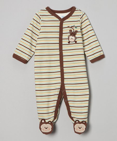 Brown Stripe Monkey Footie - Infant