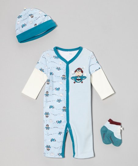 Blue Pilot Puppy Playsuit Set - Infant