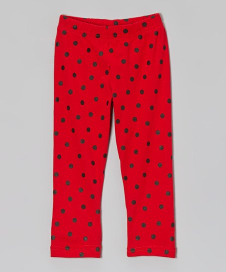 Red & Black Polka Dot Leggings - Toddler & Girls
