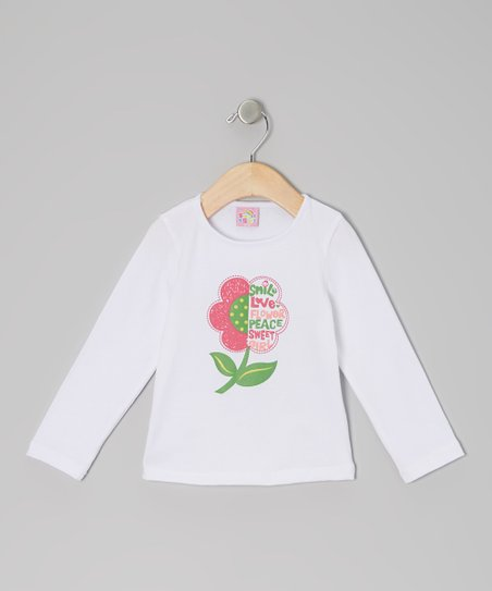 White Peace Flower Long-Sleeve Tee