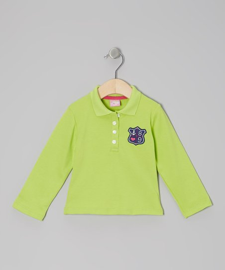 Green Anchor Crest Long-Sleeve Polo - Infant