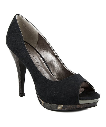 Black Giza Peep-Toe Pump
