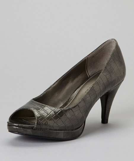 Pewter Mylah Peep-Toe Pump